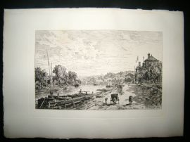 Maxime Lalanne 1885 Etching. Le bas Meudon on the Seine, France